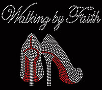 Walking by Faith (RED) Heels Stiletto Rhinestone Transfer