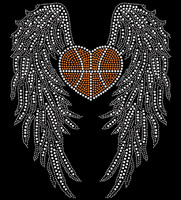 Large Wing with Heart shape Basketball Rhinestone Transfer DIY