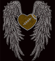 Large Wing with Heart shape Football Rhinestone Transfer DIY