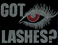 Got Lashes RED Eye Rhinestone Transfer Iron on