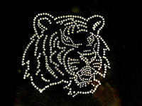 Tiger Face Side Clear Rhinestone Transfer