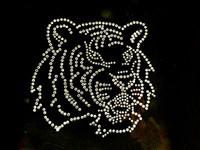 Tiger Face Side Clear Rhinestone Transfer