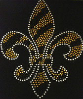 "Fleur De Lis Golden FDL 10""(H) x 8(W)"" Rhinestone Transfer Iron on"