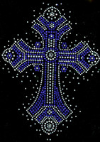 Cross Ceramic Spray COBALT Blue Religious Rhinestone transfer