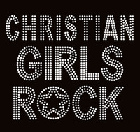Christian Girls Rock Clear Text Rhinestone Transfer