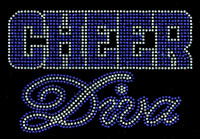 Cheer Diva COBALT BLUE Rhinestone Transfer Iron on