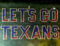 Let's Go Texans Text Rhinestone Transfer Iron On
