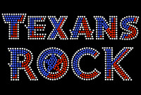 Texans Rock Text Rhinestone Transfer Iron On