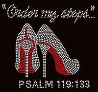 Order my steps (RED) Heels Stiletto PSALM 119:133 Religious Rhinestone Transfer