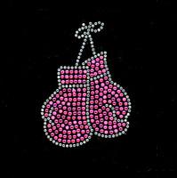 "Gloves (5"" x 3"") (Fuchsia Hot Pink) Rhinestone Transfer"