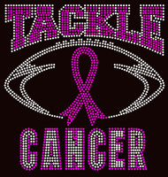 (Fuchsia) Tackle Cancer Breast Cancer Ribbon Awareness Rhinestone Transfer