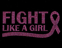 (Fuchsia Text) Fight like a Girl Ribbon Cancer Awareness Rhinestone Transfer