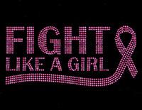 (Fuchsia Text 1 color ) Fight like a Girl Ribbon Cancer Awareness Rhinestone Transfer