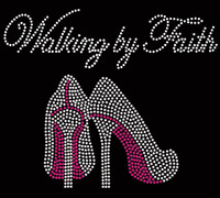 Walking by Faith (FUCHSIA) Heels Stiletto Rhinestone Transfer