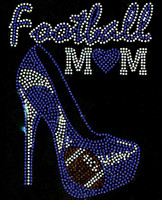 Football Mom Heel Stiletto Blue Heart Rhinestone Transfer Iron on