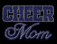 CHEER MOM Text (Cobalt Blue) Rhinestone Transfer