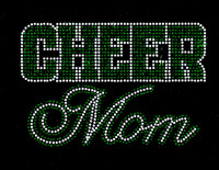 CHEER MOM Text (GREEN) Rhinestone Transfer