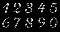 "(10 numbers Sheet) 1.25"" (Cursive italic) CLEAR Rhinestone Transfer"