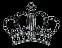 "Crown 6""(W) x 4.6""(H) CLEAR Rhinestone Transfer"