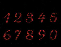 "(10 numbers Sheet) 1.25"" (Cursive italic) RED Rhinestone Transfer"