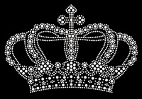 "Crown (Large) 7.6""(W) x 5""(H) Clear Rhinestone Transfer"