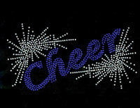 Cheer Spray (COBALT) TR Rhinestone Transfer Iron on