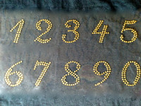 "(10 numbers Sheet) 1.25"" (Cursive italic) Golden Rhinestone Transfer"