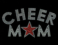 Cheer Mom Star (Orange) Rhinestone Transfer