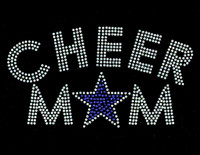 Cheer Mom Star (Blue-COBALT) Rhinestone Transfer