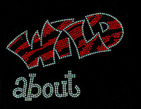 (2 qty) Wild About Text RED Rhinestone Transfer Iron on