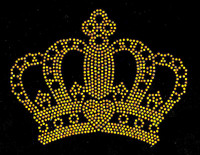 "Crown 6"" TOPAZ GOLDEN Rhinestone Transfer Iron on"