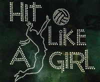 Hit like a Girl Volleyball Rhinestone Transfer