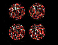 "(4 qty) 3"" Basketball Ball Rhinestone Transfer Iron on DIY"