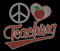 Peace Love Teaching Apple School Rhinestone Transfer Iron on