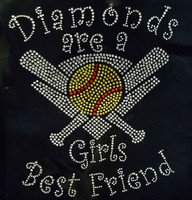Diamonds are a Softball Girls Best Friend Rhinestone Transfer Iron On