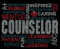 COUNSELOR Words Mentor Inspire Motivation School Rhinestone transfer