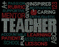 TEACHER Words Mentor School Rhinestone transfer iron on