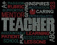 TEACHER Words Mentor School Rhinestone transfer iron on