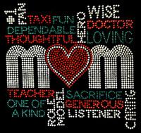 MOM Words Loving Sacrifice Words Rhinestone transfer iron on