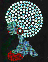 Afro Girl Red Earing Rhinestone Transfer