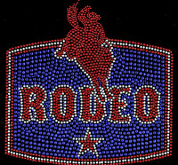 Rodeo Rider Star Guy on a Horse Red Blue Rhinestone Transfer