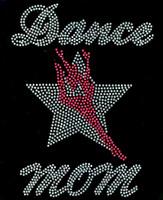 Dance Mom Girl Over Star Silhouette Rhinestone Transfer
