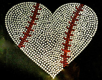"Large Baseball Ball 9"" Heart shape Rhinestone Transfer"