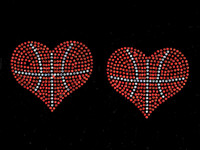 "(Set of 2) Basketball Ball Heart shape 3.75"" Rhinestone Transfer Iron on"