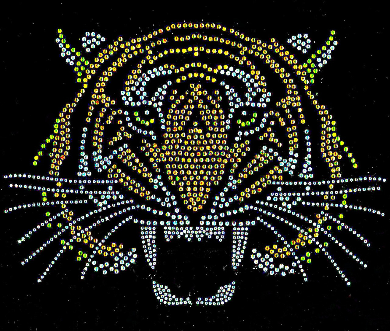 Tiger Face Front 5 Color Rhinestone Transfer 5 Templates