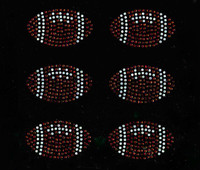 "(6 qty) 2.9"" Football ball Rhinestone Transfer Iron on"