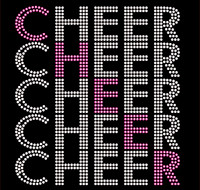 Cheer 5 lines Rhinestone Transfer Iron on