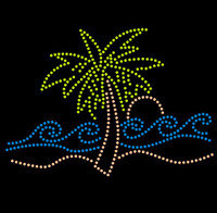 Palm Tree single with wave Tropical Rhinestone Transfer Iron on