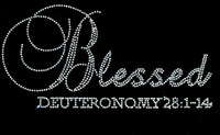 Blessed Deuteronomy 28:1-14 Religious Rhinestone Transfer Text