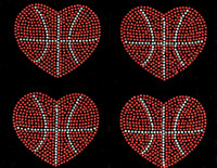 "(4 qty) 4.5"" Basketball Ball Heart Shape Rhinestone Transfer"